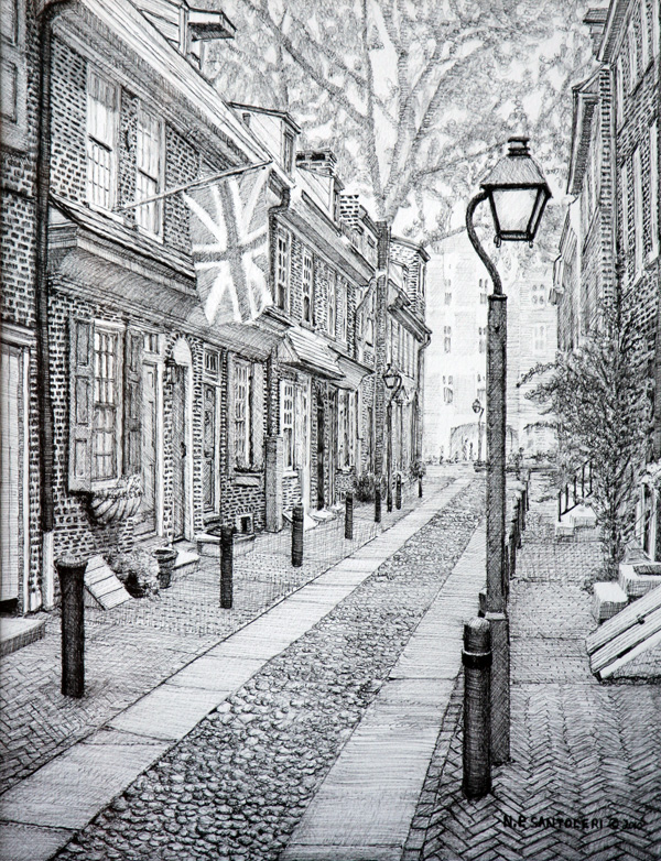 Elfreths Alley Pen And Ink by Santoleri