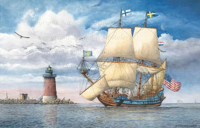 """Kalmar Nyckel Under Sail"" by N. Santoleri 2006 watercolor"
