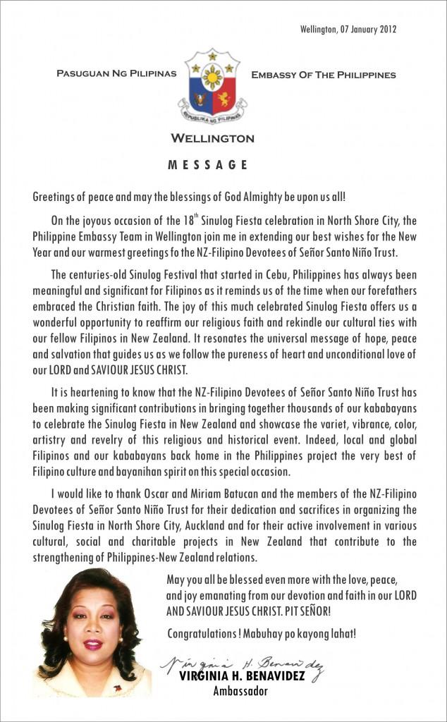 Sinulog 2012 message from ambassador virginia benavidez m4hsunfo