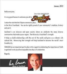Sinulog 2012 Message from Mayor Len Brown