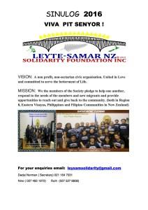 Greetings from Leyte-Samar NZ Solidarity Foundation Inc.