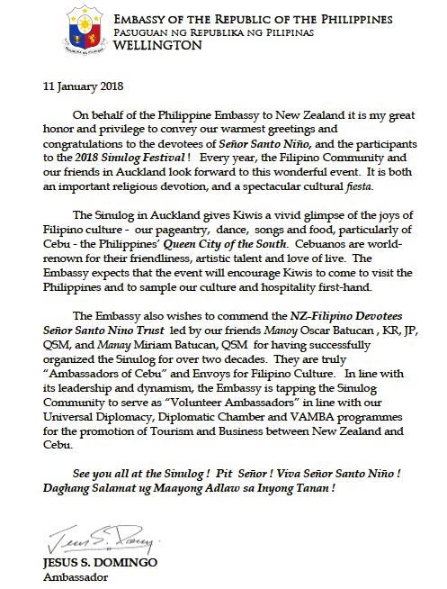 Sinulog nz 2018 message from ambassador jesus gary domingo m4hsunfo