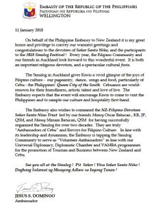 Sinulog NZ 2018 Message from Ambassador Jesus 'Gary' Domingo