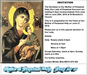 Sto Nino – Sinulog NZ supports the 9 Days novena-masses for Our Mother of Perpetual Help