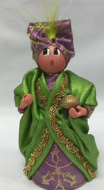 Roi Mage Melchior vert clair santons de provence