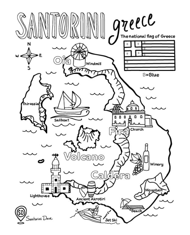 Santorini Coloring Maps and Pages