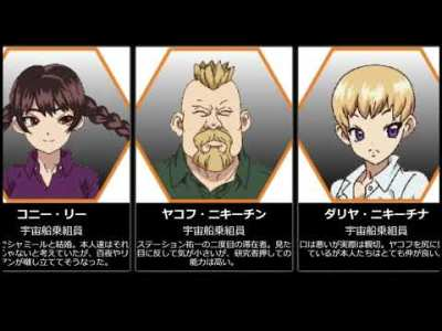 【Dr.STONE】司帝国・宇宙船乗組員主要キャラクターまとめ【アニメ比較】