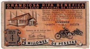 Billete rifa diciembre 1950