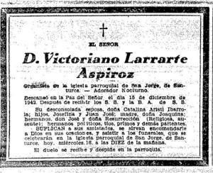 Esquela de Victoriano Larrarte