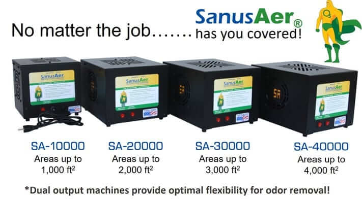No matter the size of your odor removal job, SanusAer has an ozone machine for your application.