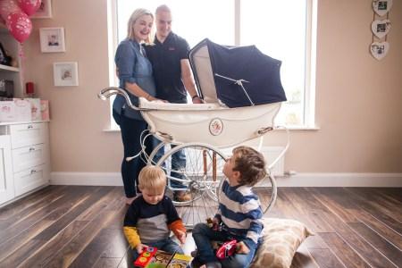 family portrait, vintage, pram, restoration, baby pram