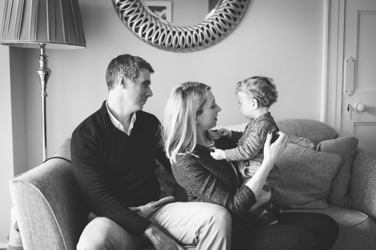 mother, father, son, home, lifestyle, toddler, first birthday, photography, portrait, baby, boy, family, black and white