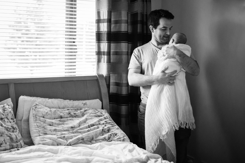 dad and newborn son portrait