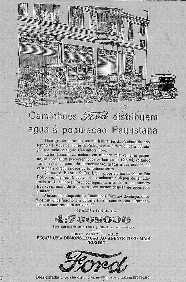 Publicidade da Ford em 1925 mostra o transporte da água da Fonte São Pedro