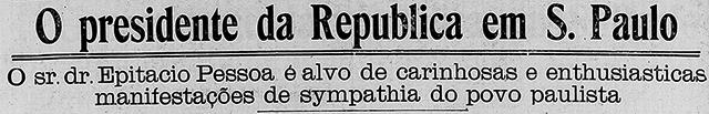Manchete do jornal Correio Paulistano em 20/08/1921