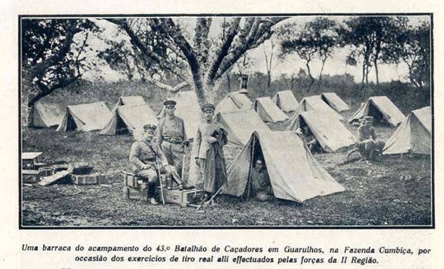 Acampamento militar em Cumbica, no ano de 1920