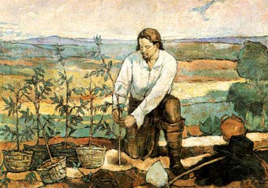 Na pintura, Palheta planta o café em solo brasileiro