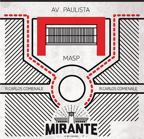 Este pequeno mapa indica o local do Mirante 9 de Julho