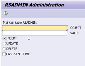 RSADMIN table administration