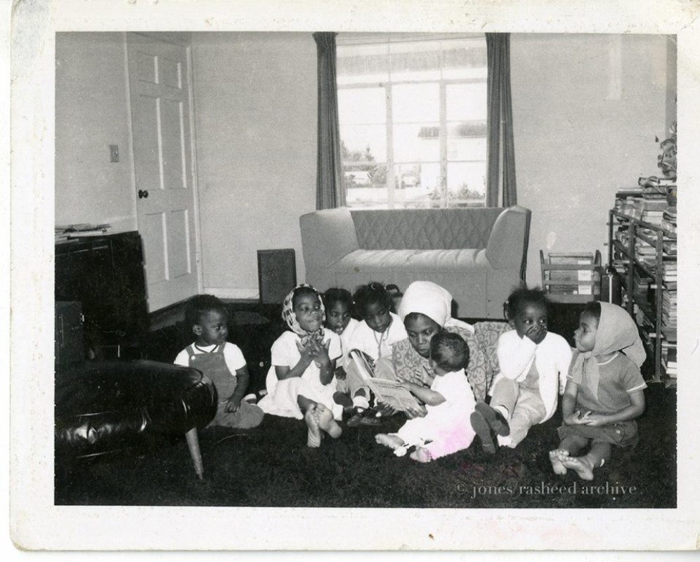 My 'Nana' reading to my Mother, Auntie, and other children from the neighborhood, West Oakland, CA. Circa 1970s. (c) jones|rasheed archive