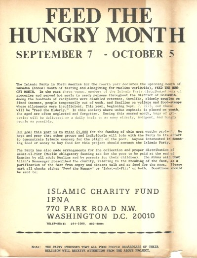 """""""Feed the Hungry Month"""" Islamic Party of North America"""