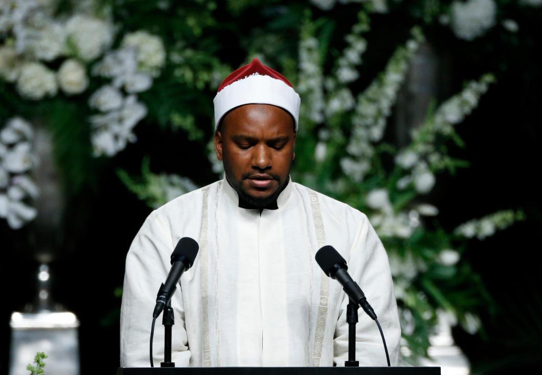 Hamzah Abdul Malik gives a quranic recitation at a memorial service for the late boxer Muhammad Ali in Louisville, Kentucky, U.S., June 10, 2016. REUTERS/Lucas Jackson