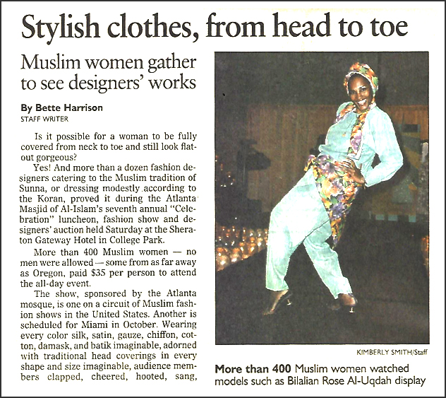 "Article clipping about the Celebrations fashion show from the Atlanta Journal-Constitution, May 10, 1993, with the headline, ""Stylish clothes, from head to toe. Muslim women gather to see designer' works,"" and photograph of model Bilalian Rose Al-Uqdah."