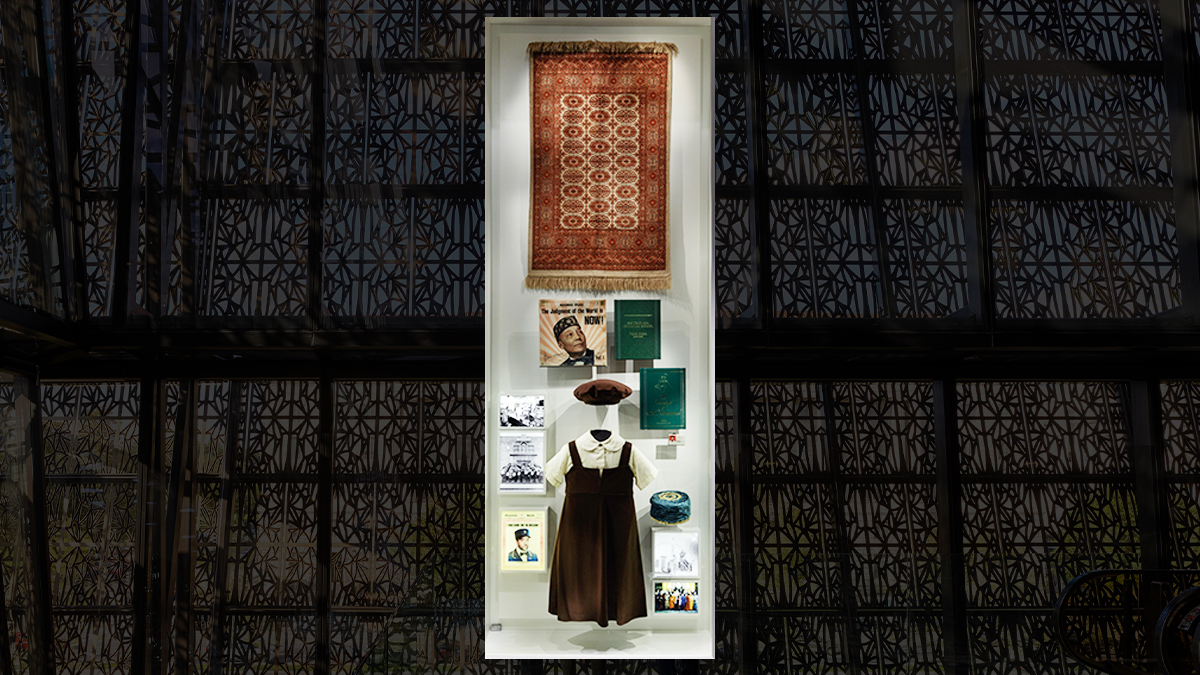 Display at National Museum of African American History and Culture, showcasing objects relating to Muslim histories.