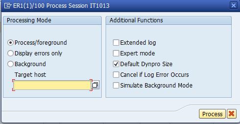 SAP SM35 Start Processing Screen