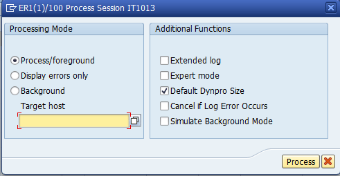 SAP SM35 Start Processing Screen