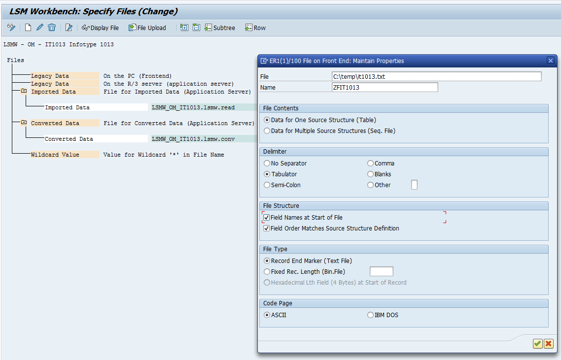 SAP LSMW Specify File