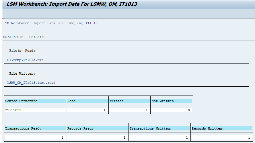 SAP LSMW Read Data Preview