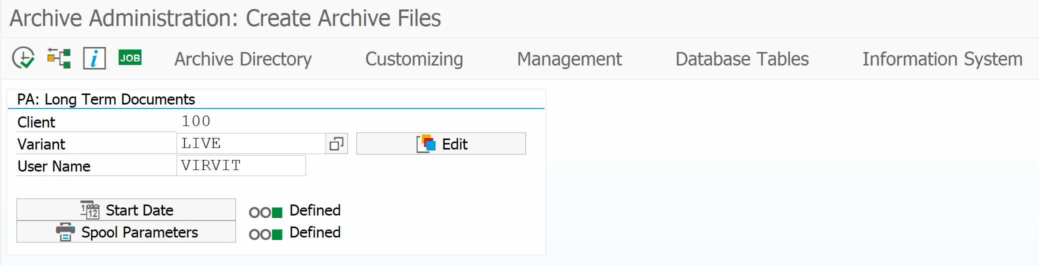 Create archive file