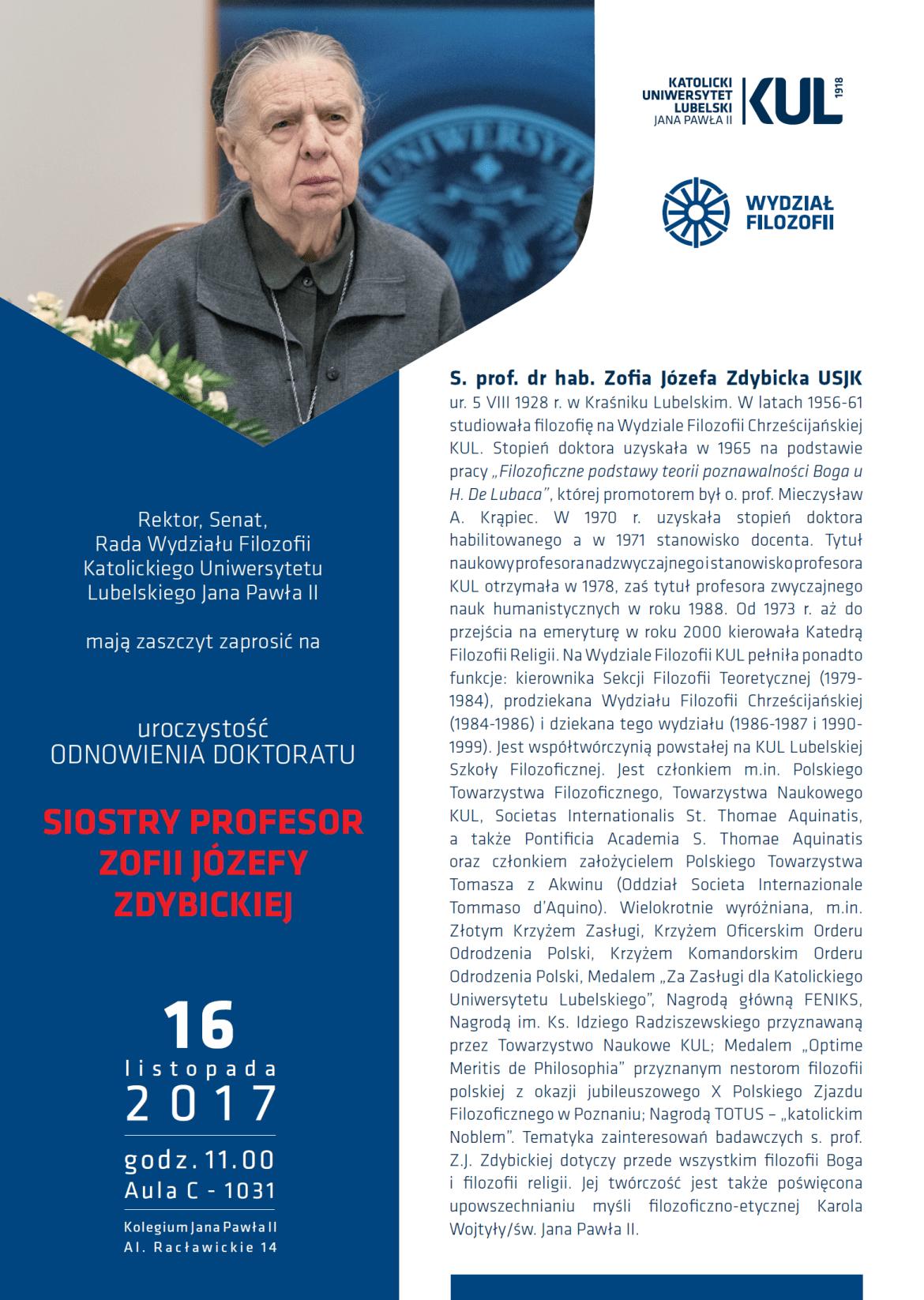 Odnowienie doktoratu Siostry Profesor Zofii Józefy Zdybickiej
