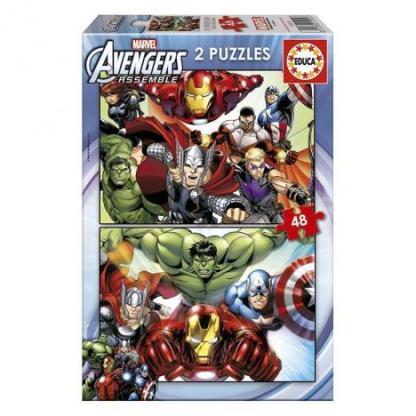 puzzle avengers 2 x 48 piezas