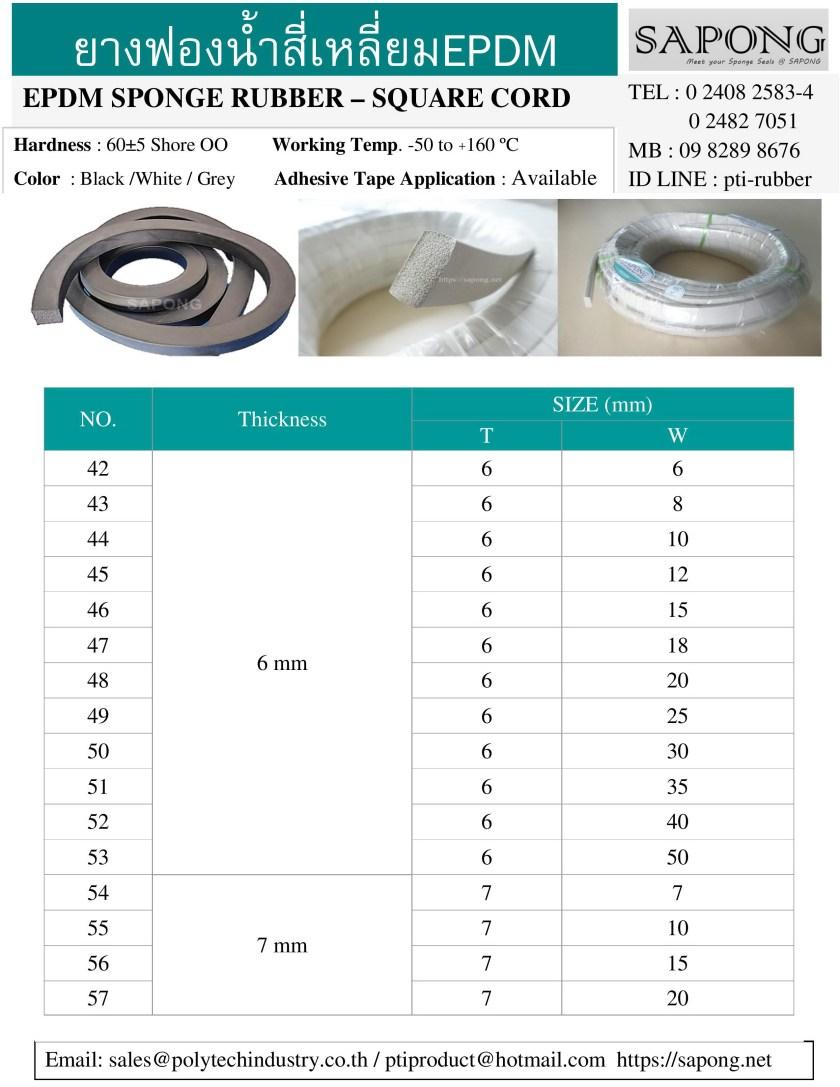 ยางฟองน้ำสี่เหลี่ยม EPDM สีขาว สีเทา สีดำ 6 mm 7 mm