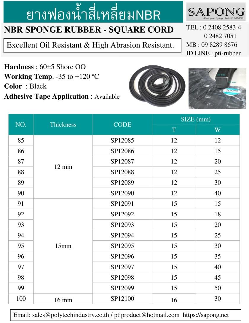 ยางฟองน้ำสี่เหลี่ยม NBR ความหนา 12 mm 15 mm 16 mm