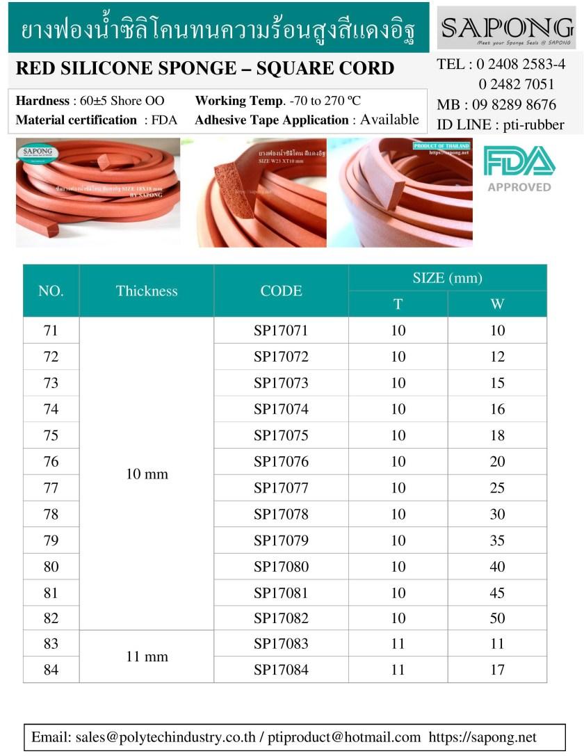 ซีลยางฟองน้ำซิลิโคนสีแดงอิฐ ทนความร้อน 270 C 10 mm 11 mm