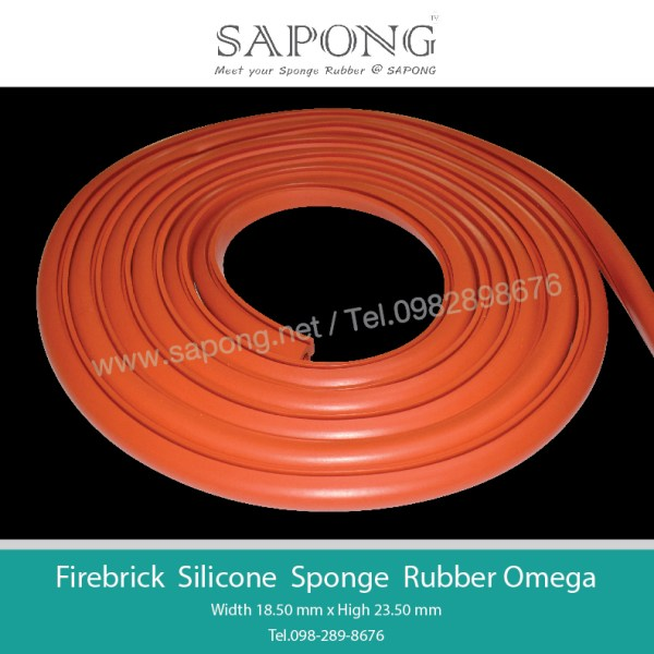 ยางฟองน้ำซิลิโคนสีแดงงอิฐทนความร้อนหน้าตัด Omega