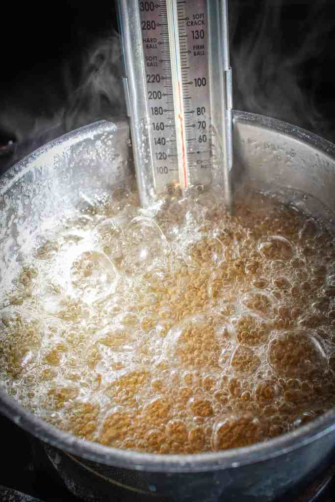 boiling sugar syrup for marshmallows in a pot