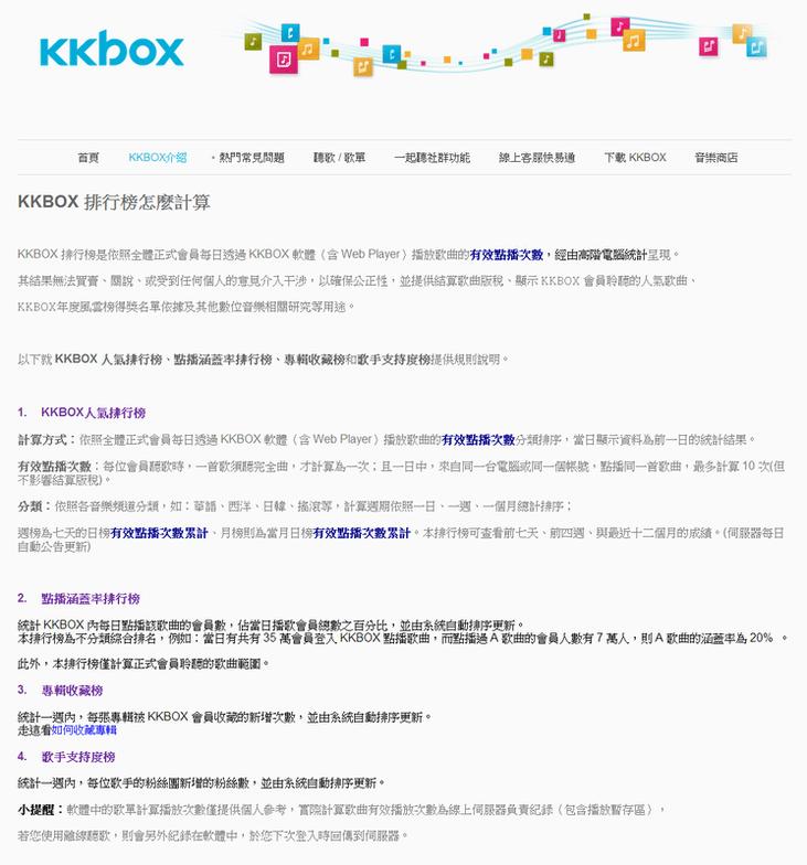 【消息】kkbox排行榜計算方式!!!!!