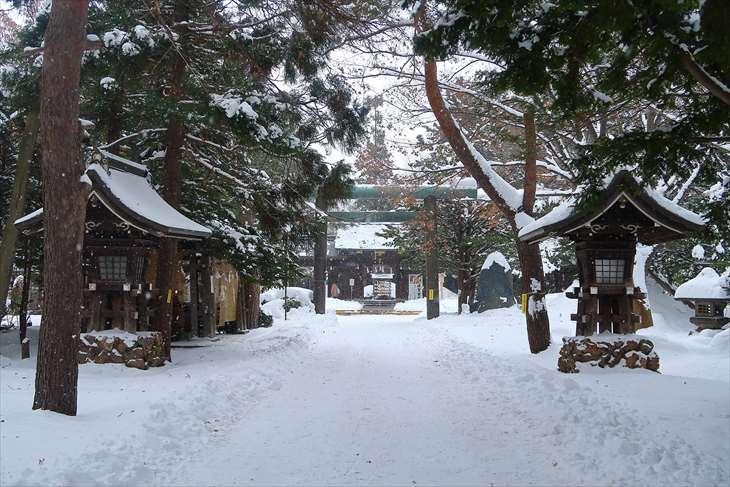 琴似神社 参道 冬