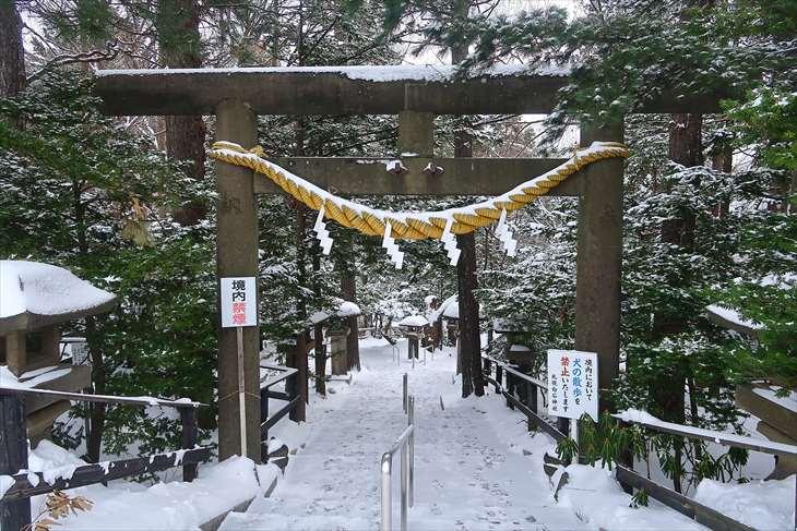 白石神社 裏参道 冬