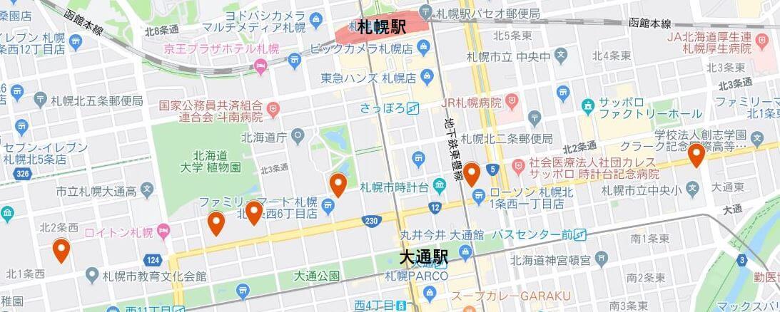 札幌テレビ局すべてをマッピング