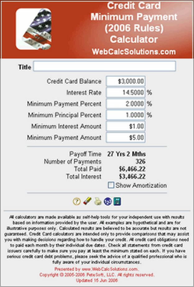 Credit Card Apr Minimum Payment Calculator