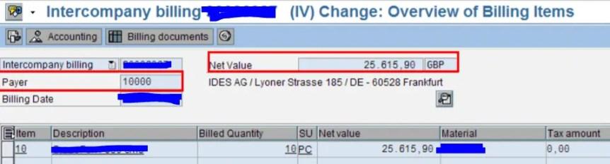 IV Inter company Invoice