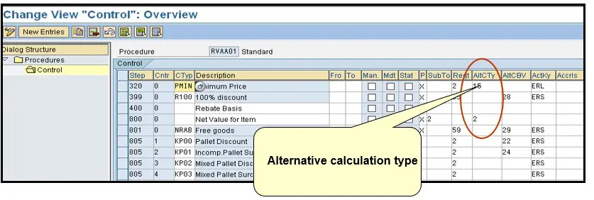 Alternative calculation type