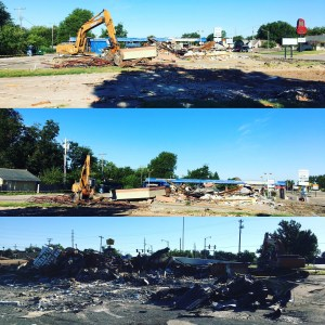 Multiple angles of the pile of debris just days after the demolition began.