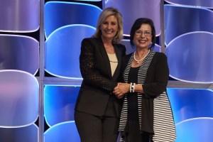 Linda Enlow, Central Tech, Sapulpa, receiving the Oklahoma NTHS Stars of Excellence award.