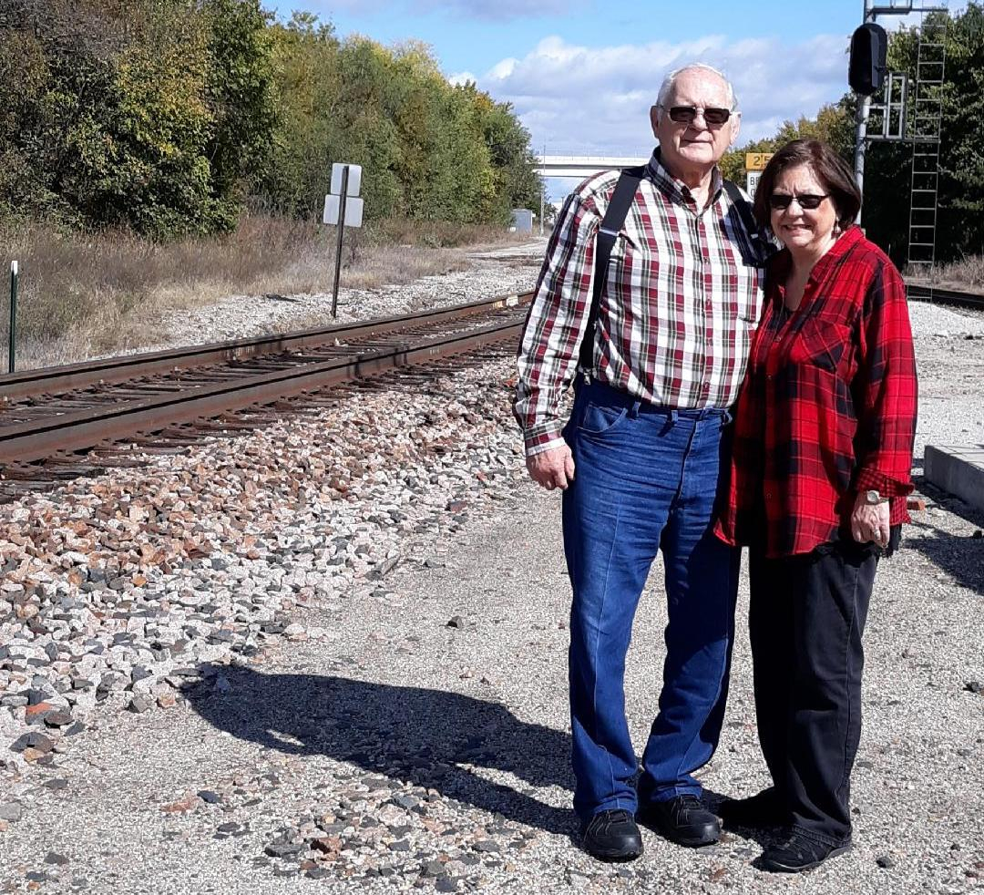 David and Mary Stroup stand at the site of Sapulpa's old Harvey House. David, his father, his uncle and his mother all worked for BNSF.